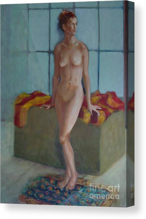 Female Figure Canvas Print featuring the painting Nude In North Light Copyrighted by Kathleen Hoekstra