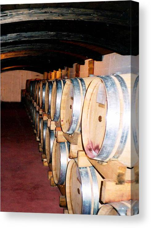 Wine Canvas Print featuring the photograph Oak Red Wine Barrels by Donna Proctor