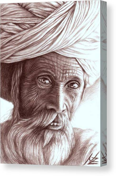 Man Canvas Print featuring the drawing Old Indian Man by Nicole Zeug