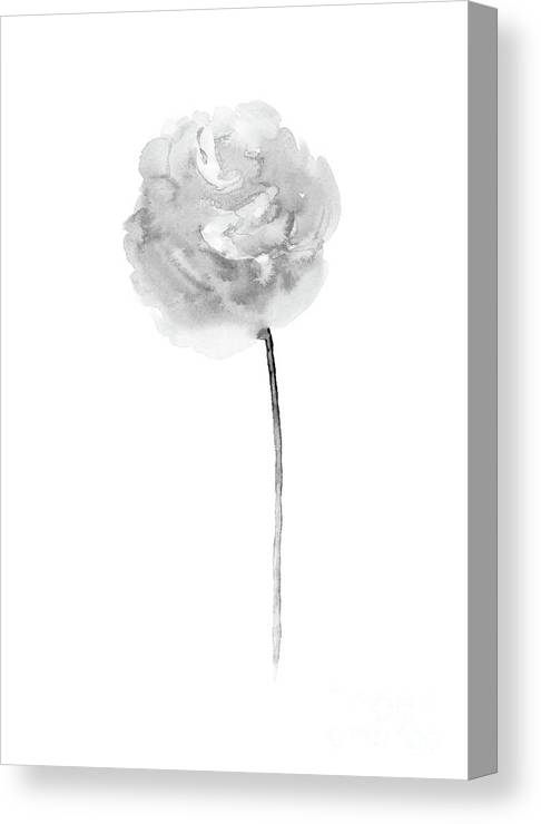 Peony Art Print Minimalist Floral Painting Taupe Flower Abstract White Grey Canvas Print
