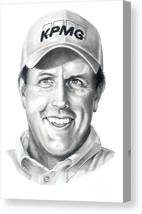 Phil Michelson Canvas Print featuring the drawing Phil Michelson by Murphy Elliott