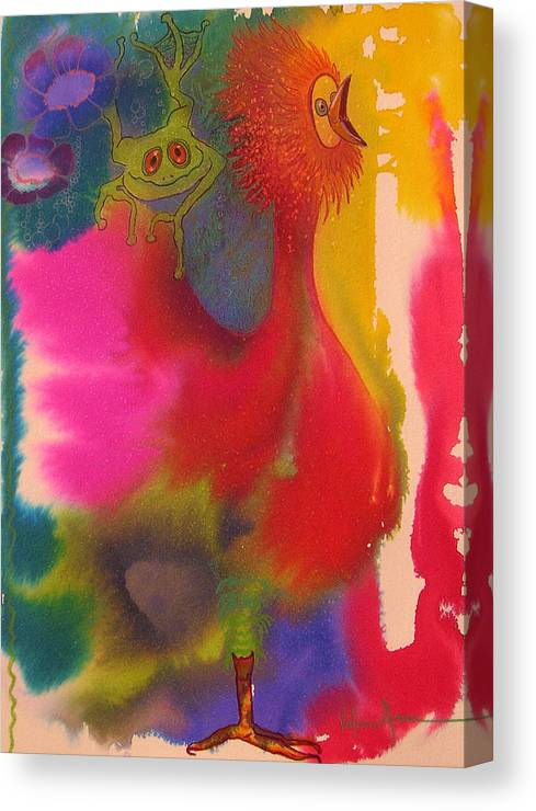 Frog Canvas Print featuring the painting Playmates 2 by Valerie Aune