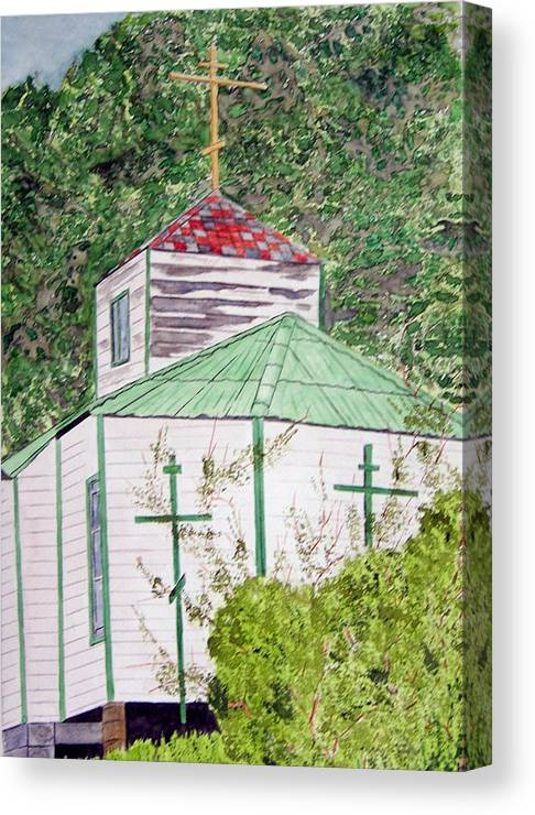 Church Canvas Print featuring the painting Russian Orthodox In Hoonah by Larry Wright