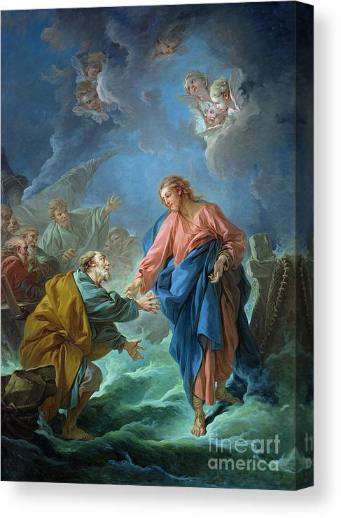 Peter Canvas Print featuring the painting Saint Peter Invited To Walk On The Water by Francois Boucher