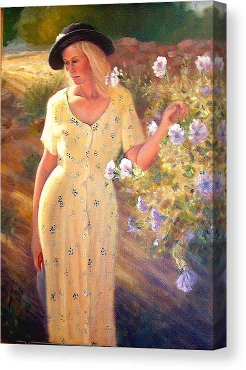 Realism Canvas Print featuring the painting Santa Fe Garden 3  by Donelli DiMaria