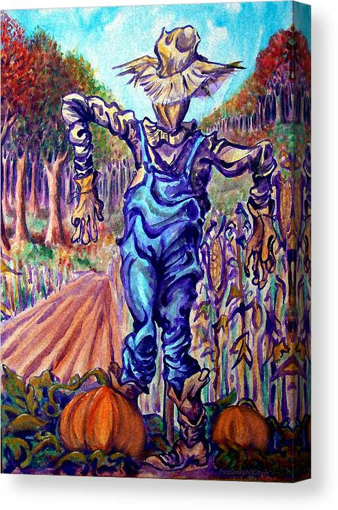 Scarecrow Canvas Print featuring the painting Scarecrow by Kevin Middleton