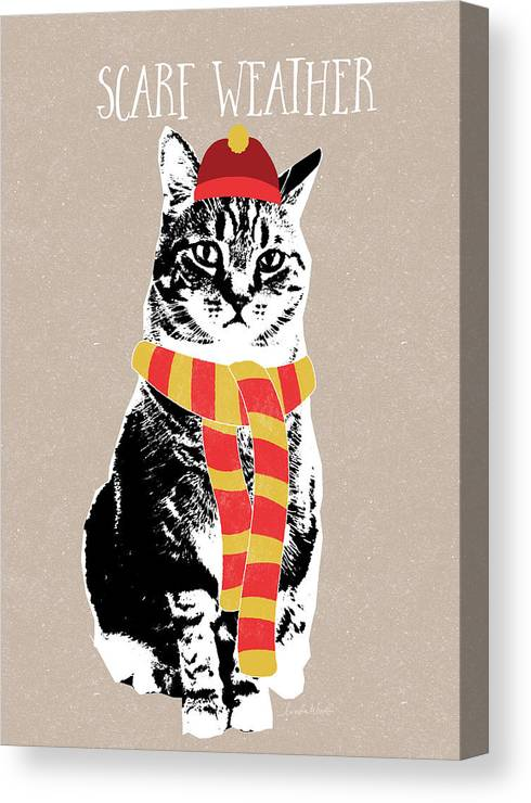 Cat Canvas Print featuring the mixed media Scarf Weather Cat- Art By Linda Woods by Linda Woods