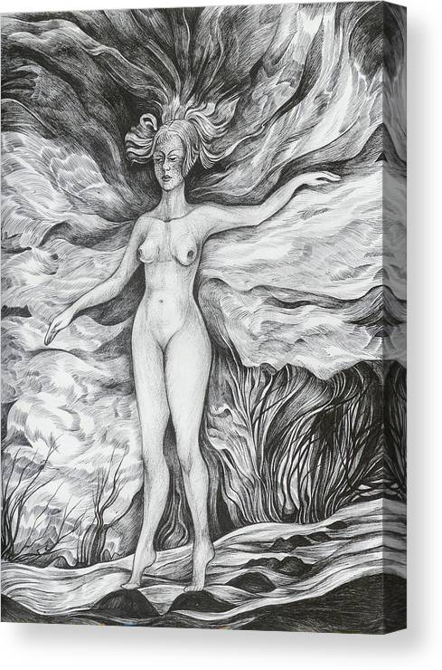 Fantasy Canvas Print featuring the drawing Spring II by Anna Duyunova