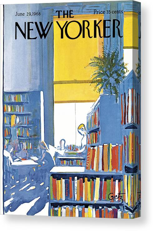 Books Canvas Print featuring the painting New Yorker June 29th 1968 by Arthur Getz