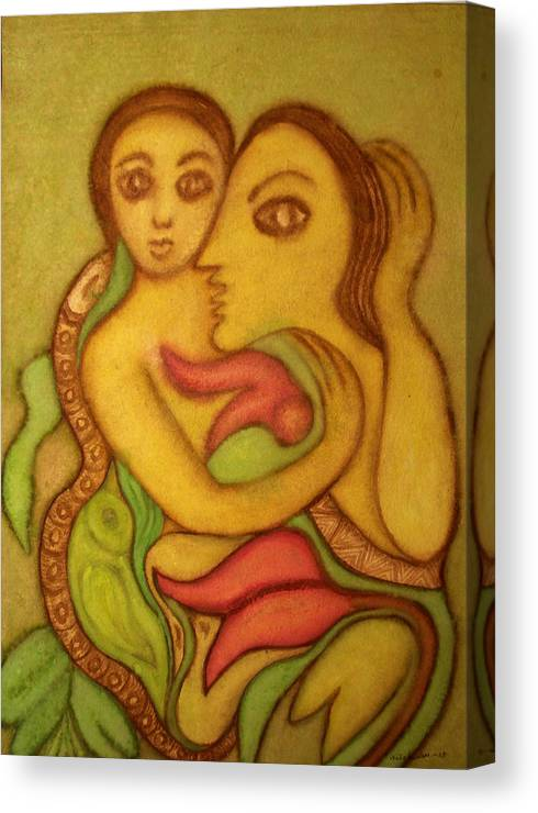Painting Canvas Print featuring the painting The Wise Serpent by Nabakishore Chanda