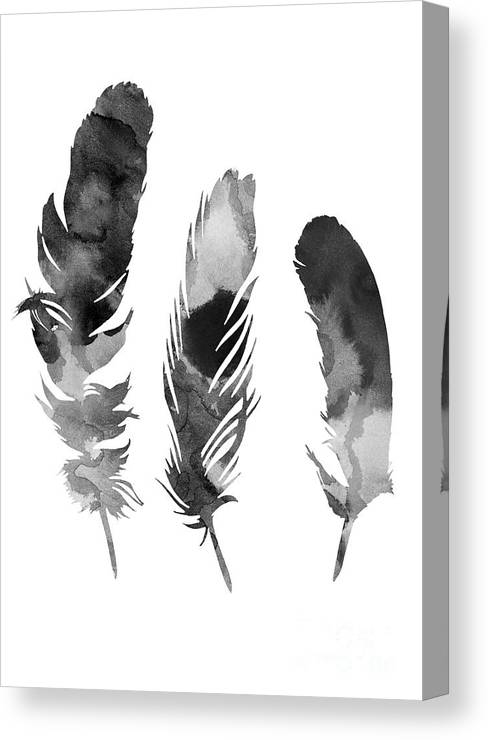 Feather Canvas Print featuring the painting Three Feathers Silhouette by Joanna Szmerdt