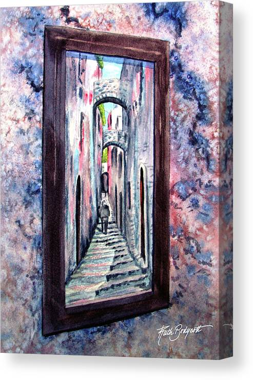 Mirror Canvas Print featuring the painting Thru The Looking Glass by Ruth Bodycott