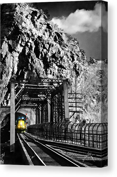 Harpers Ferry Canvas Print featuring the photograph Train At Harpers Ferry by Williams-Cairns Photography LLC