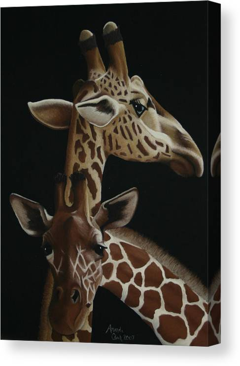 Giraffe Canvas Print featuring the pastel Twiga by Amanda Clark
