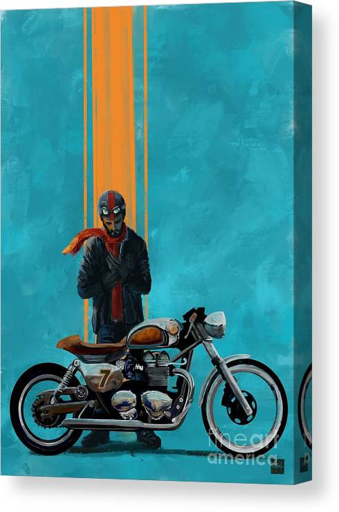 Cafe Racer Canvas Print featuring the painting Vintage Cafe Racer by Sassan Filsoof