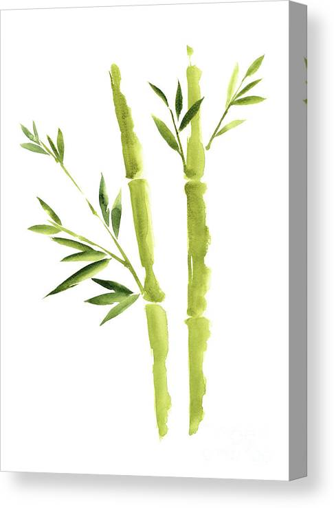 Bamboo Stick Wall Paper Art, Watercolor Living Room Decor Illustration,  Green Bamboo Leaves Painting Canvas Print