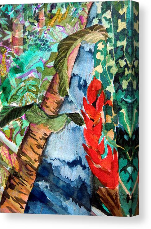 Waterfall Canvas Print featuring the painting Wild Jungle by Mindy Newman