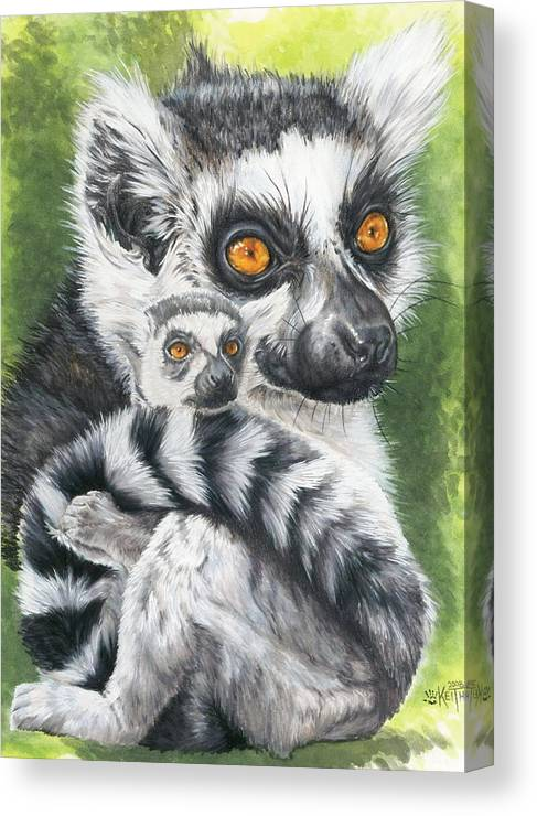 Lemur Canvas Print featuring the mixed media Wistful by Barbara Keith