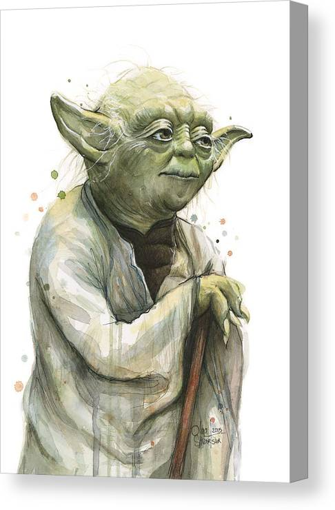 Yoda Canvas Print featuring the painting Yoda Watercolor by Olga Shvartsur