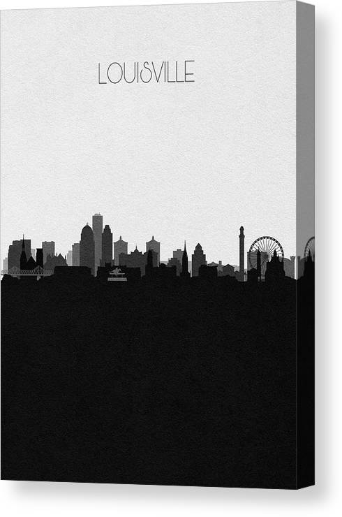 Louisville Canvas Print featuring the digital art Louisville Cityscape Art by Inspirowl Design