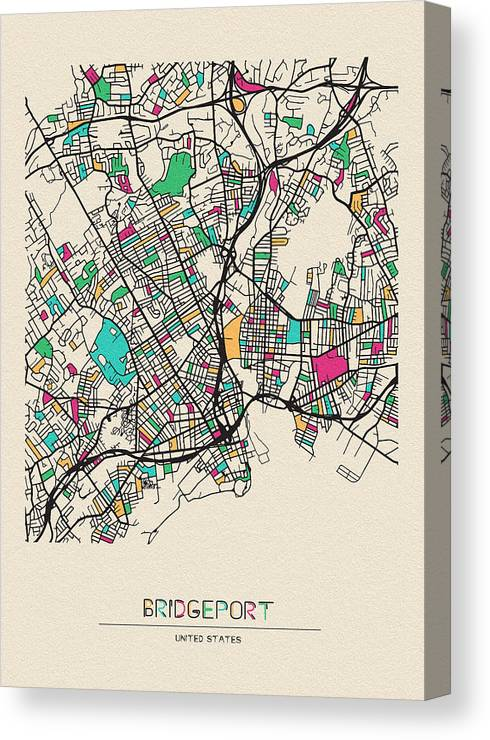 Bridgeport Canvas Print featuring the drawing Bridgeport, United States City Map by Inspirowl Design