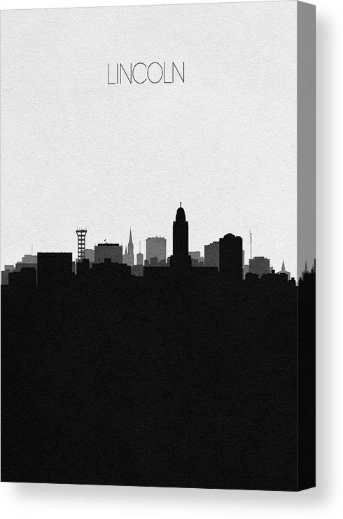 Lincoln Canvas Print featuring the digital art Lincoln Cityscape Art by Inspirowl Design