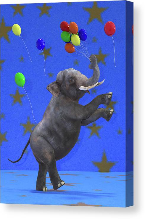 Elephant Canvas Print featuring the digital art The Happiest Elephant by Betsy Knapp