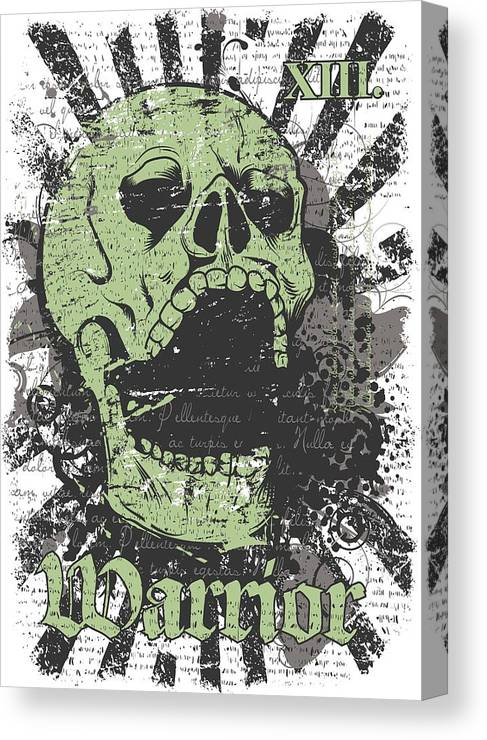 Skull Canvas Print featuring the digital art Warrior Skull And Black Rays by Passion Loft