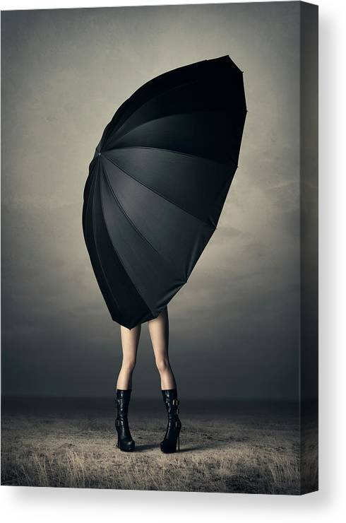 Woman Canvas Print featuring the photograph Woman With Huge Umbrella by Johan Swanepoel
