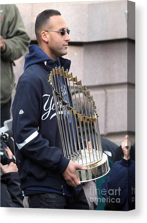 People Canvas Print featuring the photograph Derek Jeter by Jim Mcisaac