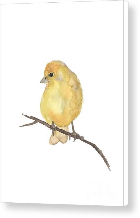 Finch Yellow Bird Watercolor Poster by Joanna Szmerdt