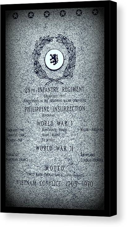 Military Canvas Print featuring the photograph 28th Infantry Regiment History by Rosanne Jordan