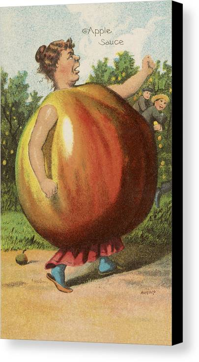 Vintage Canvas Print featuring the drawing Apple Sauce by Aged Pixel