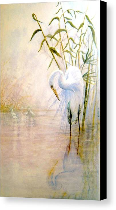 Eret; Bird; Low Country Canvas Print featuring the painting Egret by Ben Kiger