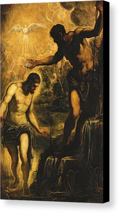 John The Baptist Canvas Print featuring the painting The Baptism Of Christ by Jacopo Robusti Tintoretto