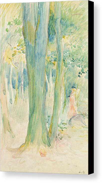 Tree Trunks; Woods; Wooded; Woodland; Forest; Canopy; Female; Kneeling; Gathering; Picking; Foraging; Shade; Shaded; Greenery; Berthe Morisot Canvas Print featuring the painting Under The Trees In The Wood by Berthe Morisot
