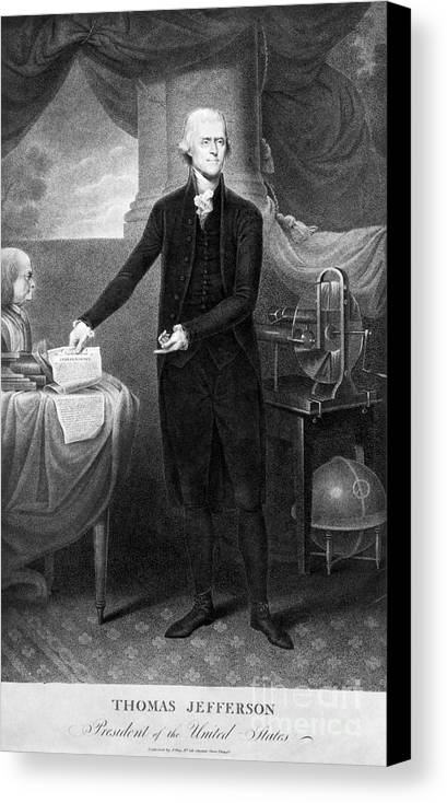 1801 Canvas Print featuring the photograph Thomas Jefferson (1743-1826) by Granger