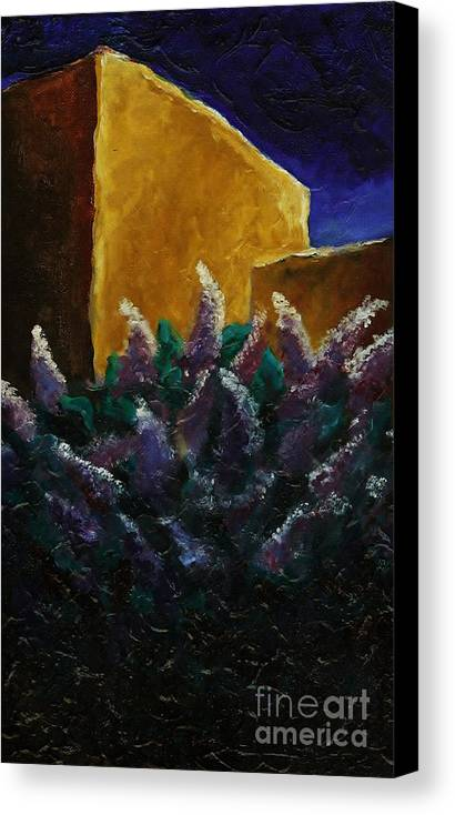 Lilacs Canvas Print featuring the painting First Light On Lilac by Caroline Ferrante