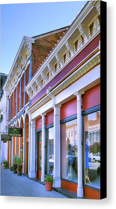 Shop Canvas Print featuring the photograph Madison Shops II by Steven Ainsworth