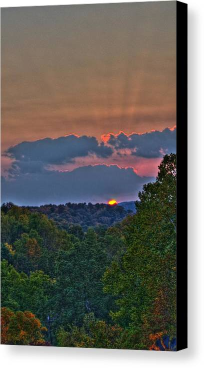 Sun Canvas Print featuring the photograph The Setting Sun by Shirley Tinkham