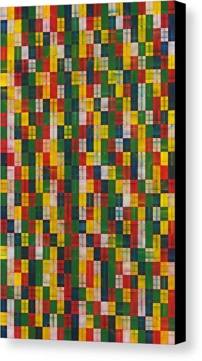 Abstract Pattern White Yellow Green Red Canvas Print featuring the painting Fac5vertical by Joan De Bot