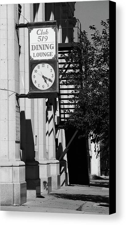 America Canvas Print featuring the photograph Miles City, Montana - Downtown Clock Bw by Frank Romeo