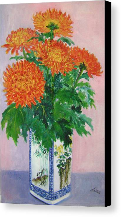 Floral Canvas Print featuring the painting Red Chrysanthemums by Lian Zhen