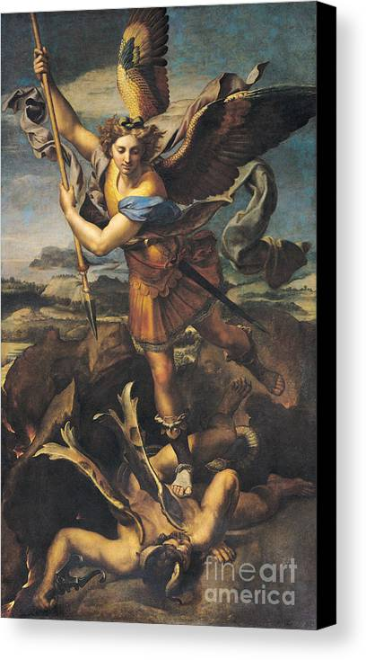 Michael Canvas Print featuring the painting Saint Michael Overwhelming The Demon by Raphael