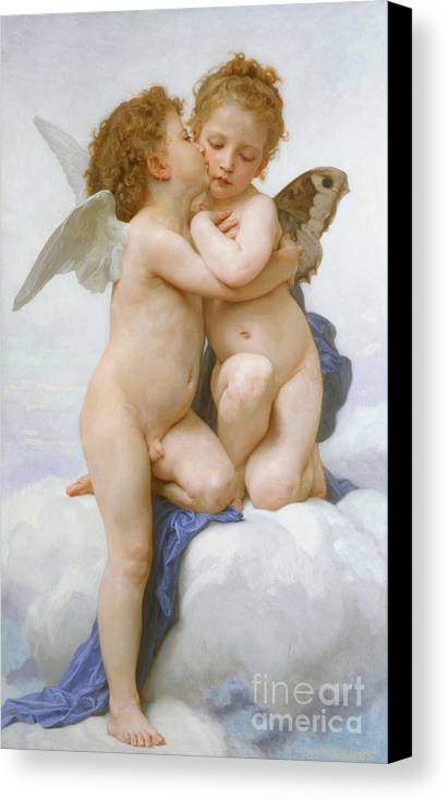 Cherubs; Cherub; Putti; Boy; Girl; Kissing; Embracing; Wings; Nude; Affection; Innocence; Cloud; Kiss Canvas Print featuring the painting The First Kiss by William Adolphe Bouguereau