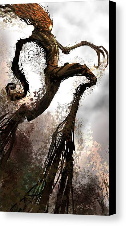 Concept Art Canvas Print featuring the digital art Treeman by Alex Ruiz
