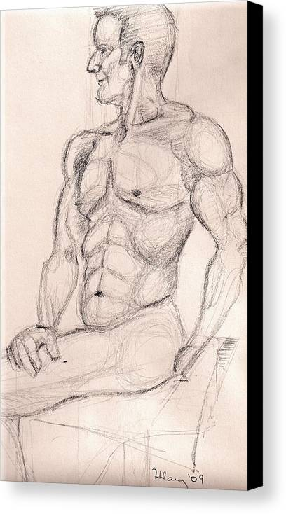 Nude Male Figure Drawing Study Canvas Print featuring the drawing V At The Studio by Hilary England