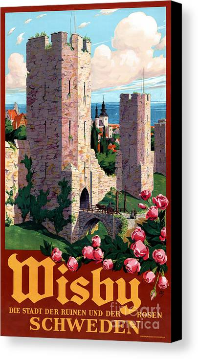 Vintage Canvas Print featuring the painting Visby Vintage Travel Poster Restored by Carsten Reisinger