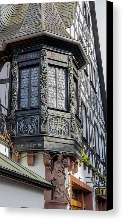 Rudesheim Canvas Print featuring the photograph Wein Window by Teresa Mucha