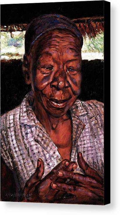 Black Woman Canvas Print featuring the painting Woman Of Faith by John Lautermilch
